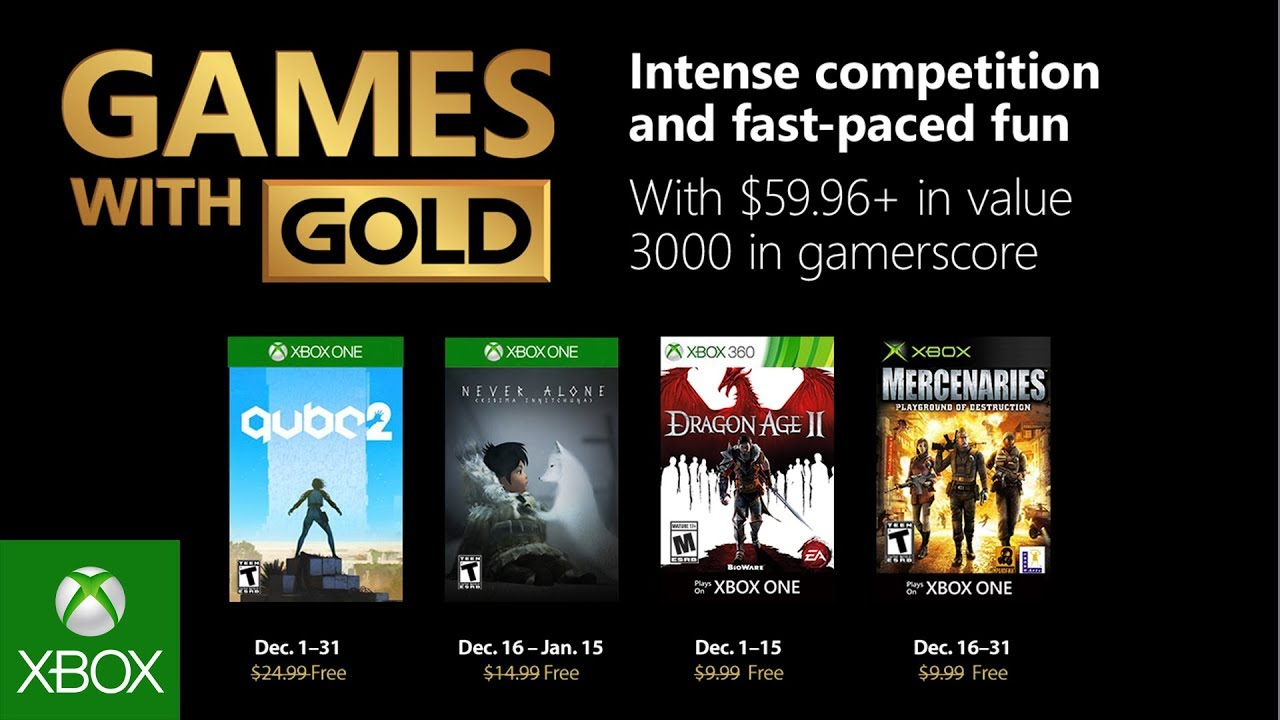 Xbox One Games with Gold December Lineup