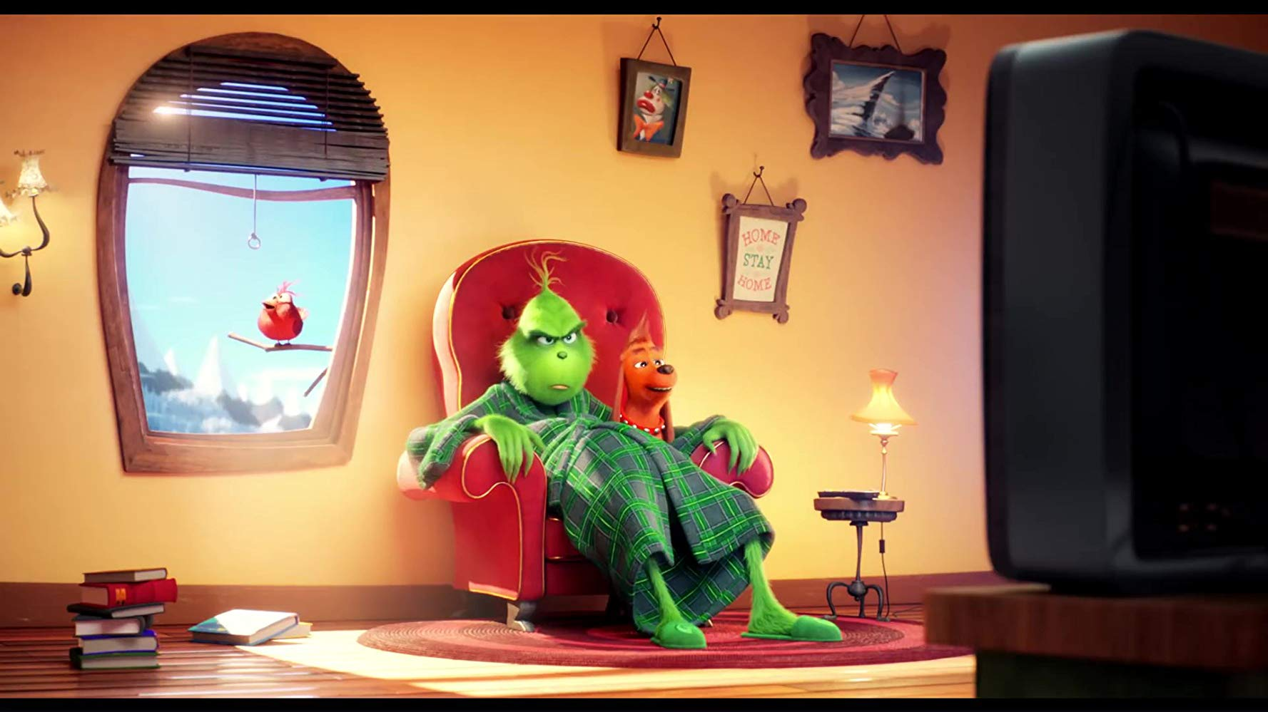 The Grinch in his chair