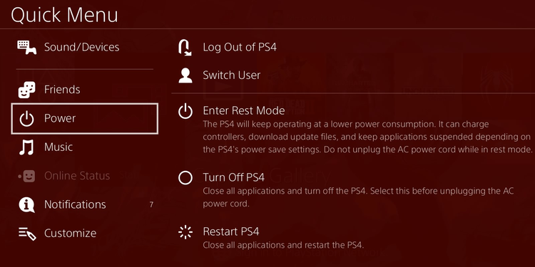 Turn off PS4